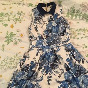 strapless collared floral dress